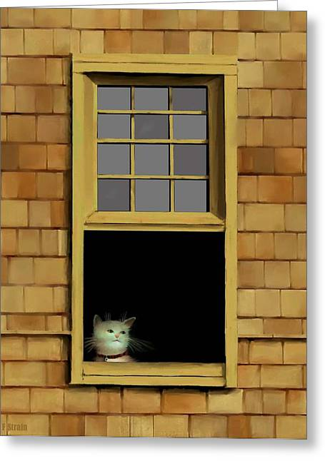Kitten Prints Pastels Greeting Cards - Window Cat    No.3 Greeting Card by Diane Strain