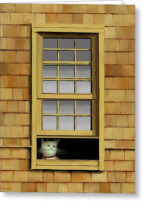Kitten Prints Pastels Greeting Cards - Window Cat    No.5 Greeting Card by Diane Strain