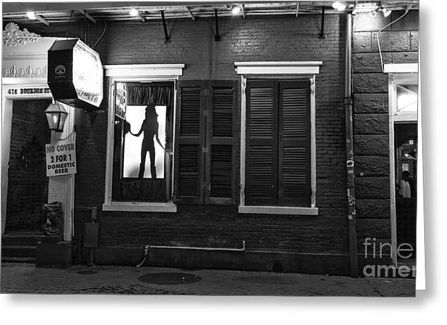 Art For The Dancer Greeting Cards - Window Dancer on Bourbon Street mono Greeting Card by John Rizzuto