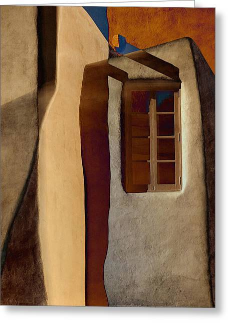 Pueblo Architecture Greeting Cards - Window de Santa Fe Greeting Card by Carol Leigh