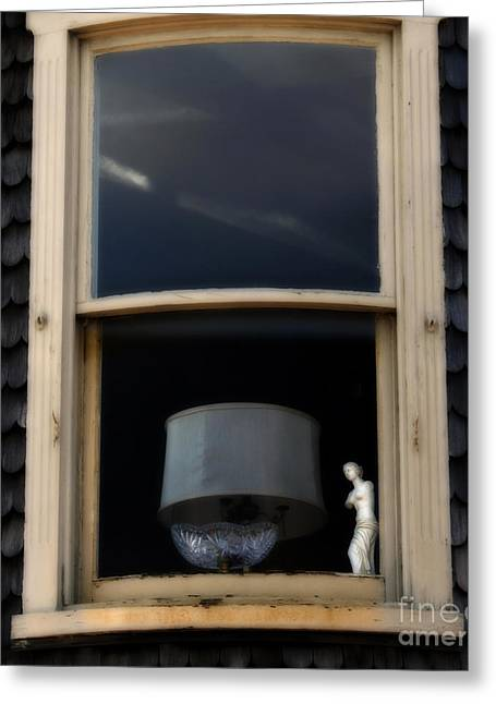 Nudes Sculptures Greeting Cards - Window Decadence - Rural America      Greeting Card by Steven  Digman
