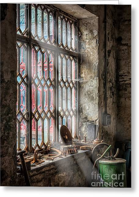 Spider Web Greeting Cards - Window Decay Greeting Card by Adrian Evans
