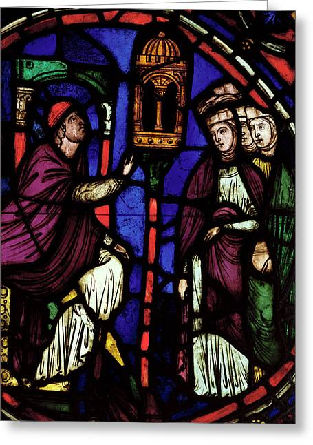 Atelier Greeting Cards - Window Depicting A Man Preaching To Three Women, Ile De France Workshop Stained Glass Greeting Card by French School