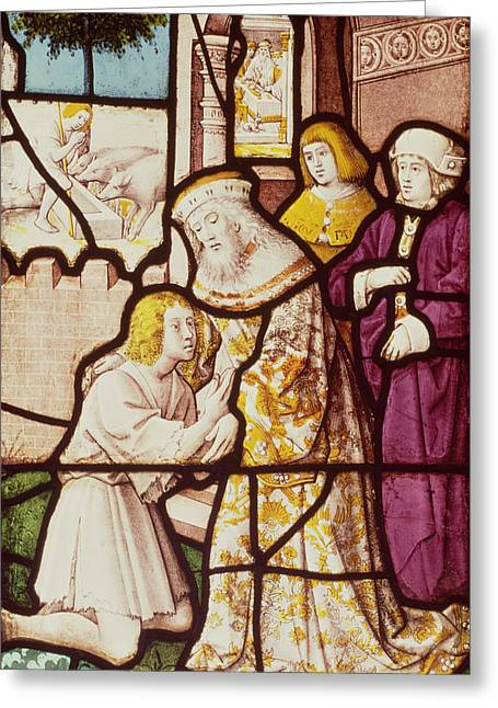 Parable Greeting Cards - Window Depicting The Return Of The Prodigal Son, Cologne School Stained Glass Greeting Card by German School