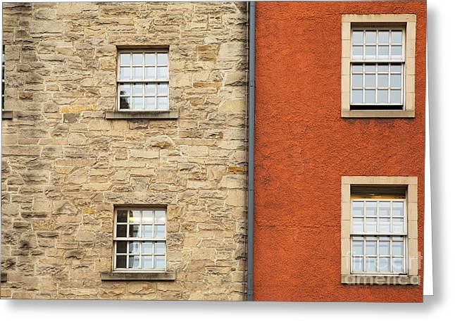 Glass Wall Greeting Cards - Window detail Edinburgh Greeting Card by Jane Rix