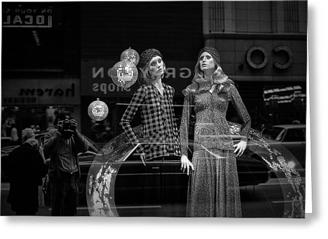 Selling Fine Art Greeting Cards - Window Display in Chicago 1973 Greeting Card by Randall Nyhof