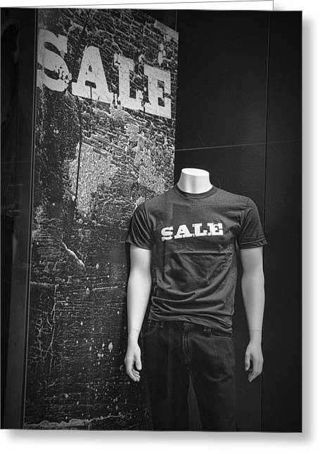 White Slacks Greeting Cards - Window Display Sale in Black and White Photograph with Mannequin No.0129 Greeting Card by Randall Nyhof