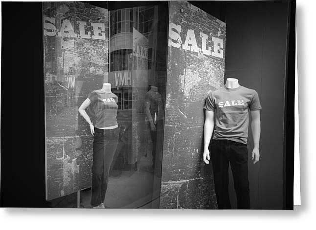 White Slacks Greeting Cards - Window Display Sale with Mannequins No.1292 Greeting Card by Randall Nyhof