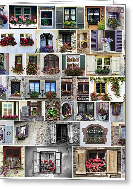 Flower Boxes Greeting Cards - Window Flower Box World Greeting Card by Daniel Hagerman