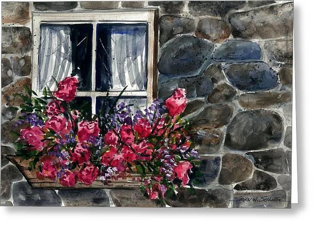 Award Winning Art Greeting Cards - Window Flowers Greeting Card by Steven Schultz