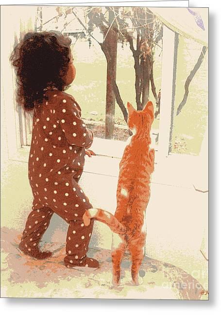 Pajamas Greeting Cards - Window Gazing  Greeting Card by Heidi Manly