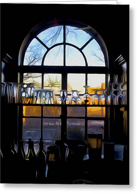 Wine Service Paintings Greeting Cards - Window In a Bar Greeting Card by Tom Kostro