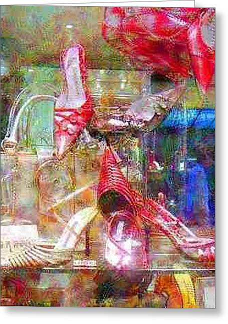 Italian Shopping Digital Art Greeting Cards - Window in a Shoe Store Women That Love High Heels Greeting Card by Bud Anderson