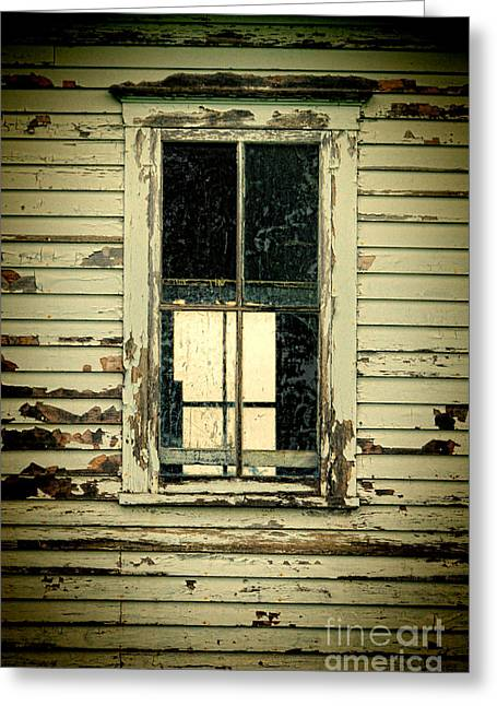 Clapboard House Greeting Cards - Window in Abandoned Building Greeting Card by Jill Battaglia