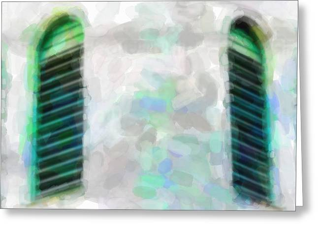 Abandoned Houses Mixed Media Greeting Cards - Window In Green Greeting Card by Toppart Sweden