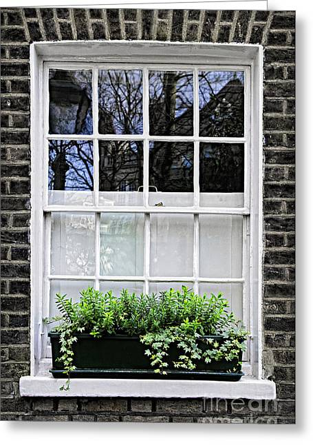 Glass Wall Greeting Cards - Window in London Greeting Card by Elena Elisseeva