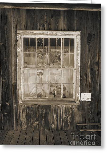 Framed Old Door Print Greeting Cards - Window in Old House with Dolls 3002.01 Greeting Card by M K  Miller