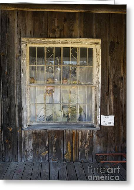 Framed Old Door Print Greeting Cards - Window in Old House with Dolls in Color 3002.02 Greeting Card by M K  Miller