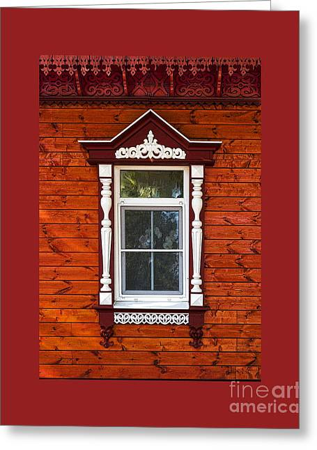 Hand Carved Greeting Cards - Window in Red Greeting Card by Elena Nosyreva