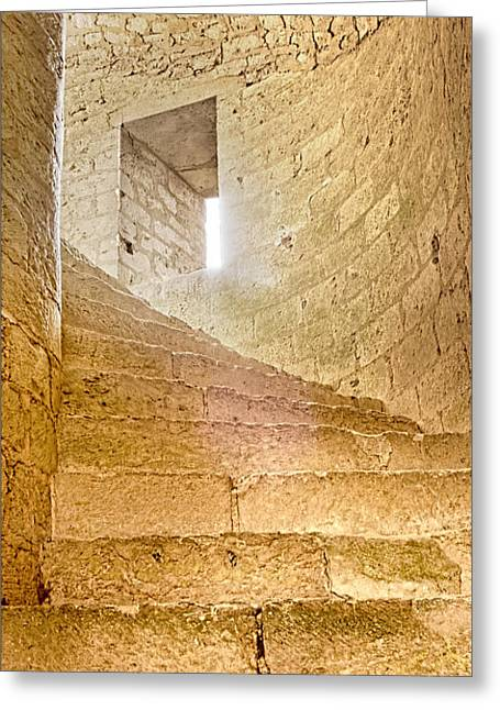 Medieval Temple Greeting Cards - Window In Spiral Staircase Greeting Card by Weston Westmoreland