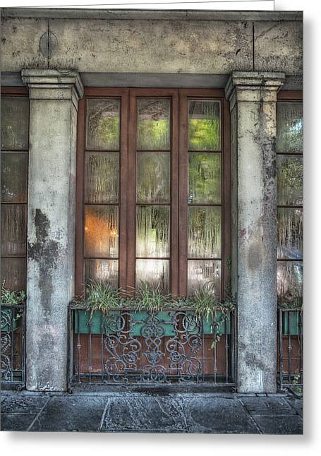 French Quarter Doors Greeting Cards - Window in the Quarter Greeting Card by Brenda Bryant
