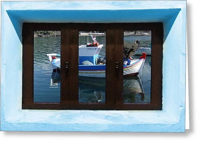 Sea Moon Full Moon Mixed Media Greeting Cards - Window into Greece  Greeting Card by Eric Kempson