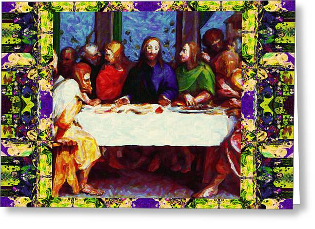 Bible Digital Art Greeting Cards - Window Into The Last Supper 20130130m138 Greeting Card by Wingsdomain Art and Photography