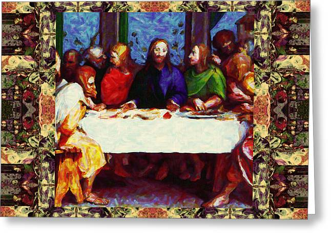 Bible Digital Art Greeting Cards - Window Into The Last Supper 20130130sep Greeting Card by Wingsdomain Art and Photography