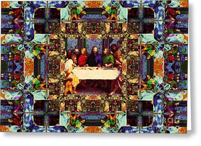 Bible Digital Art Greeting Cards - Window Into The Last Supper 20130130v2-horizontal Greeting Card by Wingsdomain Art and Photography