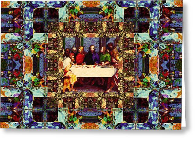 Bible Digital Art Greeting Cards - Window Into The Last Supper 20130130v2 Greeting Card by Wingsdomain Art and Photography