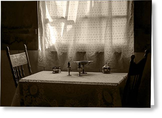 Compote Greeting Cards - Window Light - Table - Chairs Greeting Card by Nikolyn McDonald
