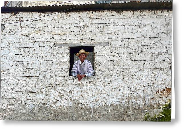 Guatemalan Home Greeting Cards - Window Man Greeting Card by Eye Browses