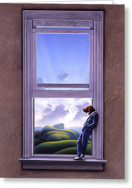 Surreal Landscape Greeting Cards - Window of Dreams Greeting Card by Jerry LoFaro