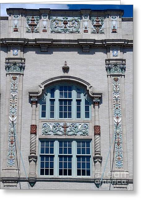 South Bend Greeting Cards - Window of Morris Performing Arts Center  --  South Bend Greeting Card by Anna Lisa Yoder