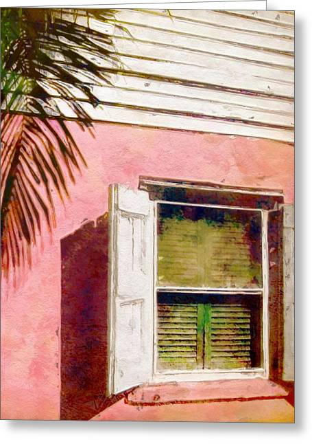 Clapboard House Paintings Greeting Cards - Window of Pink Island House - Vertical Greeting Card by Lyn Voytershark