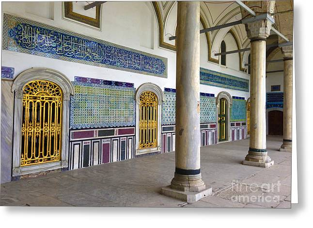 Window Of The Chamber Of The Holy Mantle In The Topkapi Palace Istanbul Turkey Greeting Card by Ralph A  Ledergerber-Photography