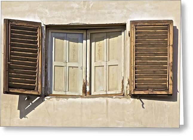 Window Of Tuscany Greeting Card by David Letts