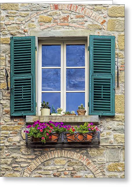 David Letts Greeting Cards - Window of Tuscany with Green Wood Shutters Greeting Card by David Letts
