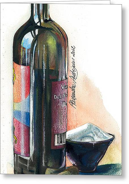 Italian Wine Greeting Cards - Window on a Bottle Greeting Card by Alessandra Andrisani