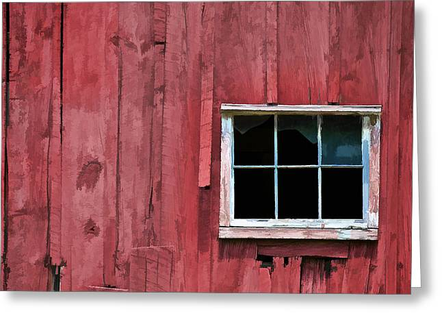 Worn In Greeting Cards - Window on a Red Barn Greeting Card by David Letts
