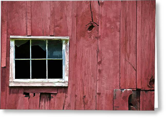 Old Crumbling Barn Greeting Cards - Window on a Red Barn II Greeting Card by David Letts