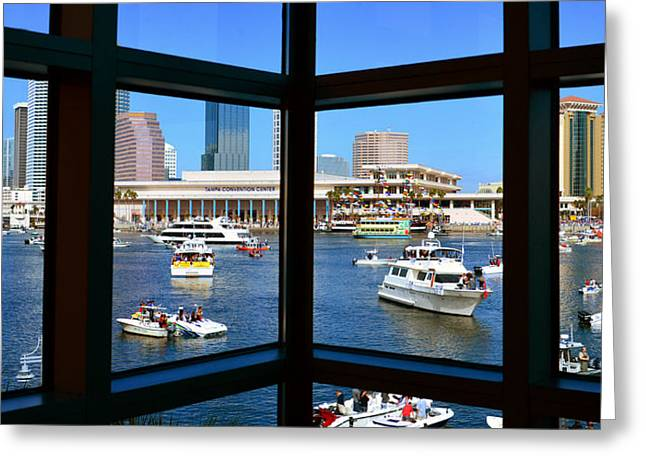 Pirate Ship Greeting Cards - Window on Gasparilla Greeting Card by David Lee Thompson