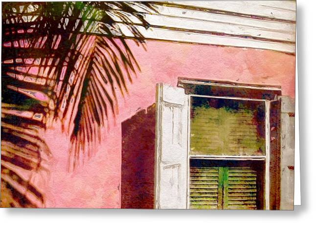Clapboard House Paintings Greeting Cards - Window on Pink Island House - Square Greeting Card by Lyn Voytershark