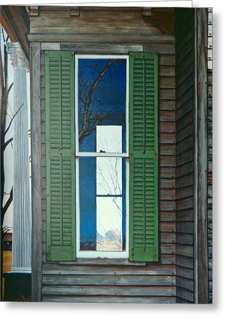 Egg Tempera Paintings Greeting Cards - Window on the Past Greeting Card by Peter Muzyka