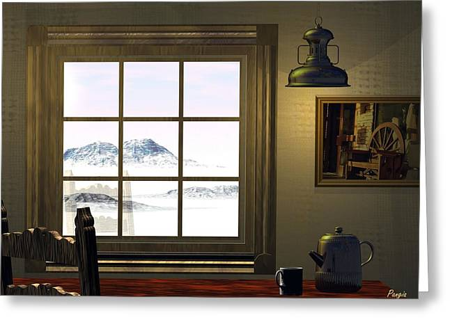 Cabin Window Digital Art Greeting Cards - Window on Winter Greeting Card by John Pangia