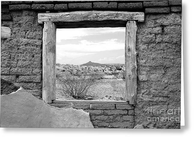 Travelpixpro Greeting Cards - Window onto Big Bend Desert Southwest Black and White Greeting Card by Shawn O