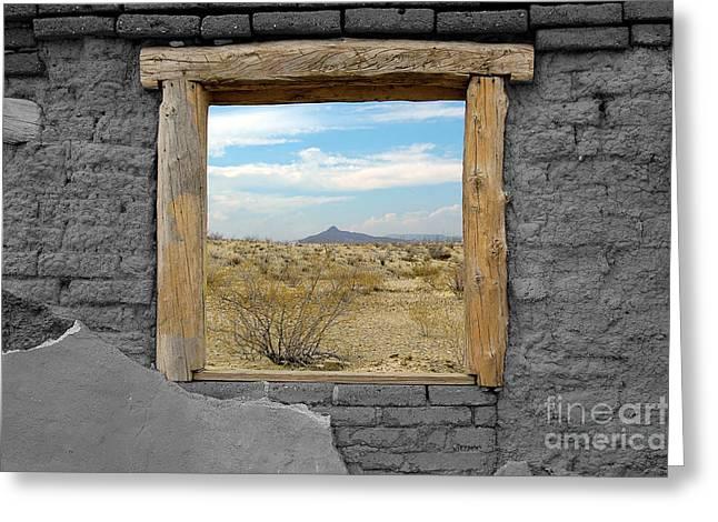 Color Splash Greeting Cards - Window onto Big Bend Desert Southwest Color Splash Black and White Greeting Card by Shawn O