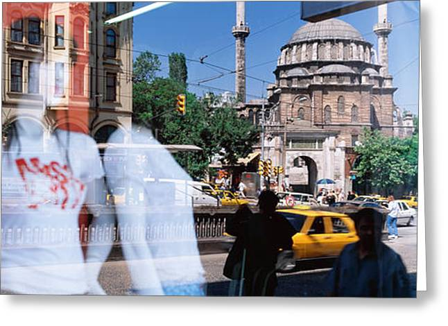 Store Fronts Greeting Cards - Window Reflection, Istanbul, Turkey Greeting Card by Panoramic Images