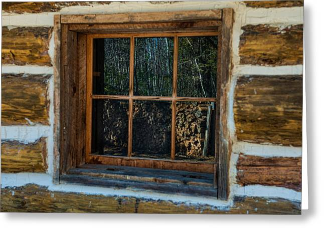 Cabin Window Greeting Cards - Window Reflection Greeting Card by Paul Freidlund