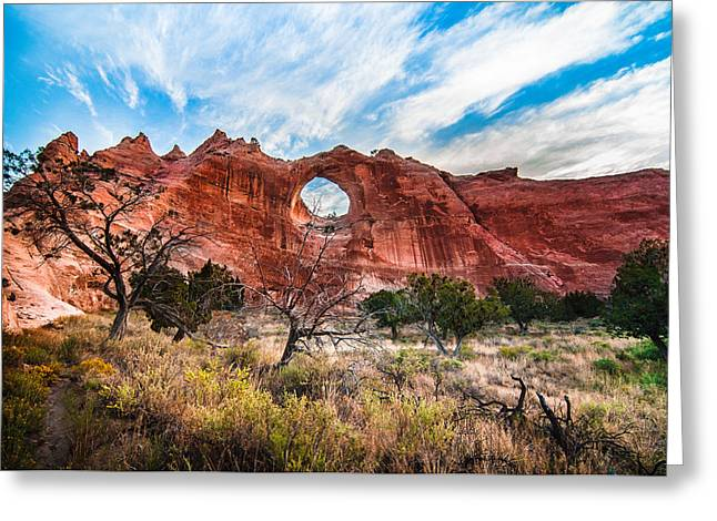 Best Sellers -  - Holes In Sandstone Greeting Cards - Window Rock at Sunrise Greeting Card by Erica Hanks